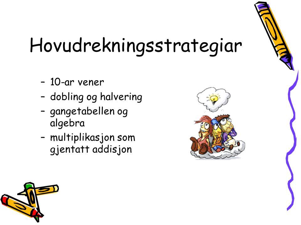 Hovudrekningsstrategiar –10-ar vener –dobling og halvering –gangetabellen og algebra –multiplikasjon som gjentatt addisjon