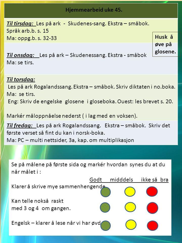 Til tirsdag: Les på ark - Skudenes-sang. Ekstra – småbok.