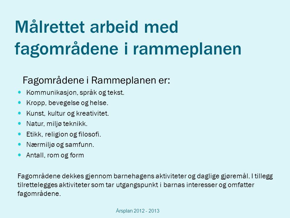 Målrettet arbeid med fagområdene i rammeplanen Fagområdene i Rammeplanen er: Kommunikasjon, språk og tekst.