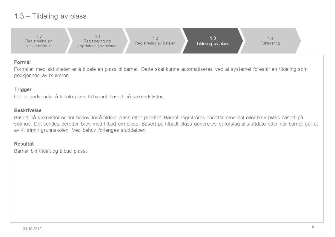 1.4 - Fakturering Formål Formålet med aktiviteten er å fakturere betalingsmottaker for plass i aktivitetsskolen.
