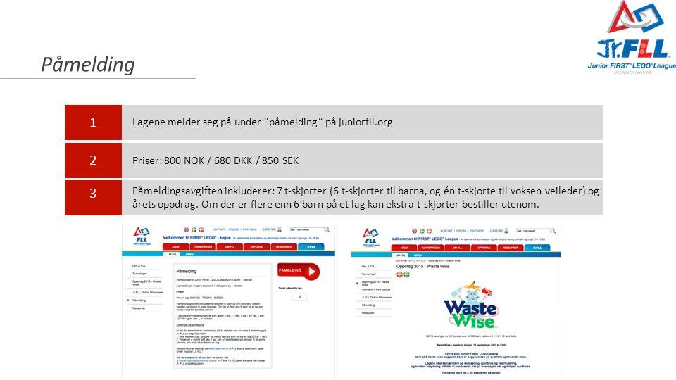 """Påmelding 1 2 3 Lagene melder seg på under """"påmelding"""" på juniorfll.org Priser: 800 NOK / 680 DKK / 850 SEK Påmeldingsavgiften inkluderer: 7 t-skjorte"""