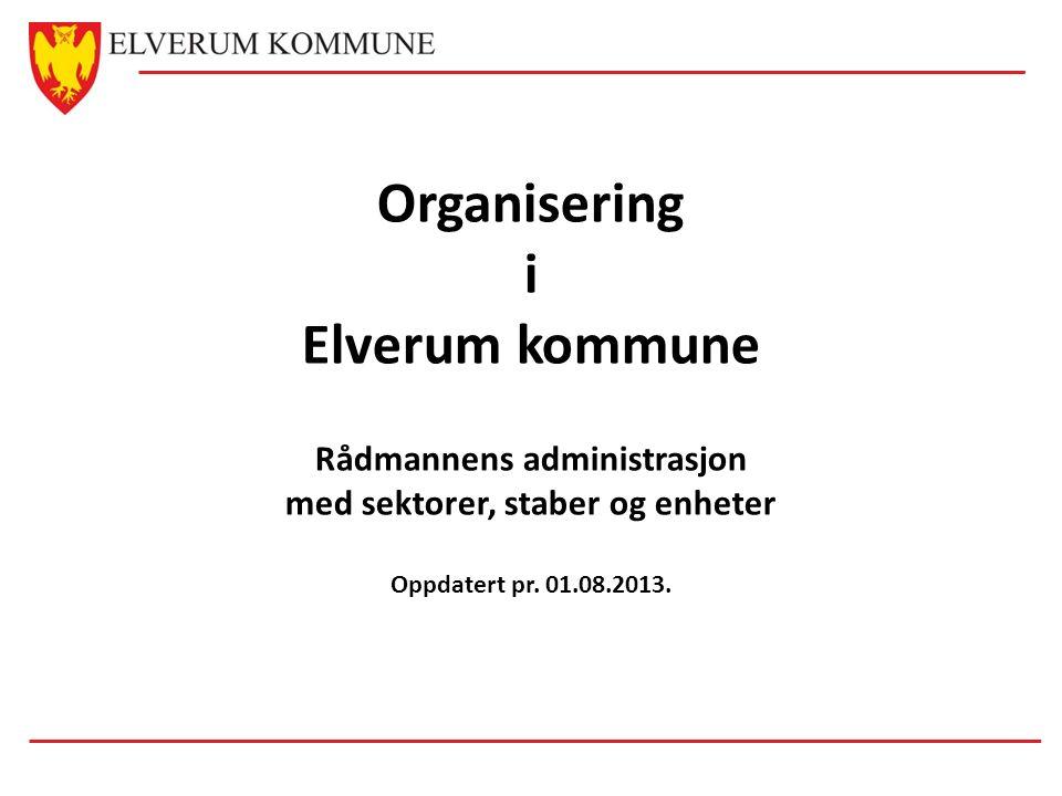 Organisering i Elverum kommune Rådmannens administrasjon med sektorer, staber og enheter Oppdatert pr.