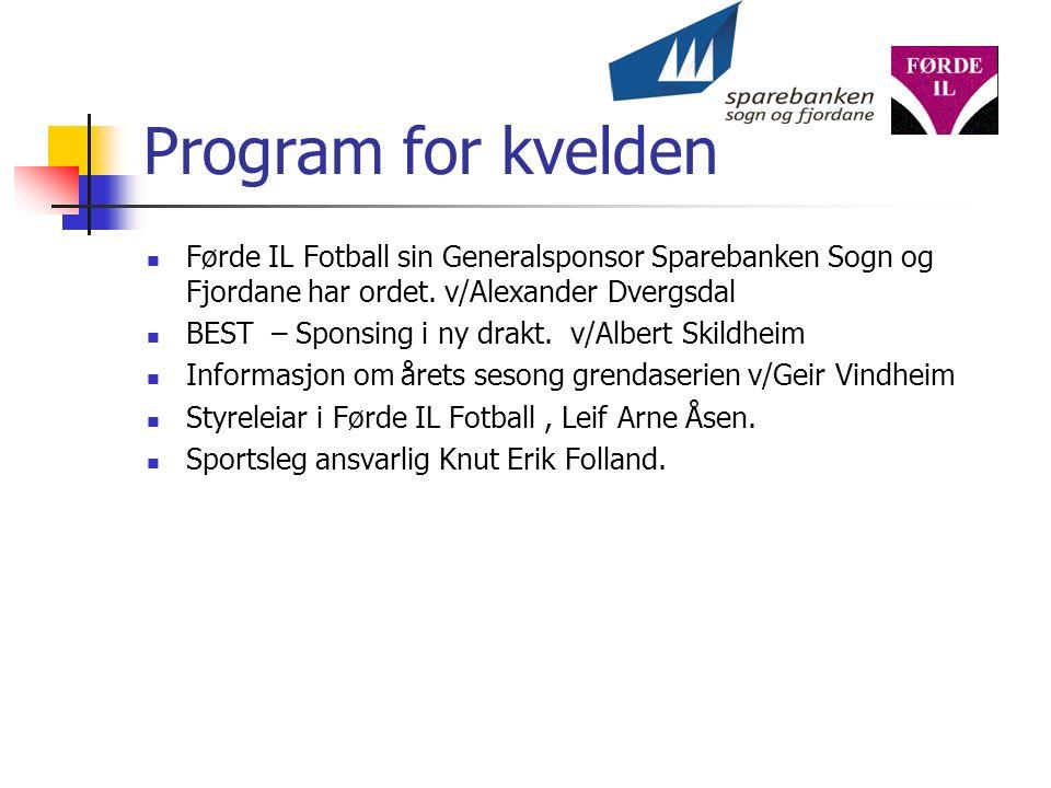 Program for kvelden Førde IL Fotball sin Generalsponsor Sparebanken Sogn og Fjordane har ordet.