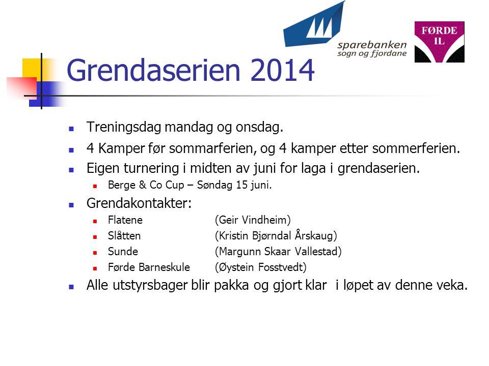 Grendaserien 2014 Treningsdag mandag og onsdag.