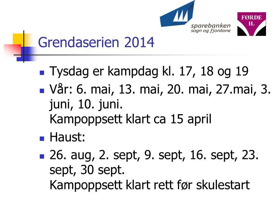 Grendaserien 2014 Tysdag er kampdag kl. 17, 18 og 19 Vår: 6.