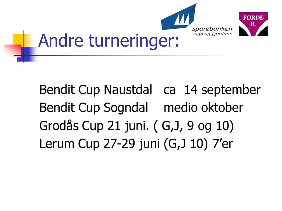 Andre turneringer: Bendit Cup Naustdal ca 14 september Bendit Cup Sogndal medio oktober Grodås Cup 21 juni.