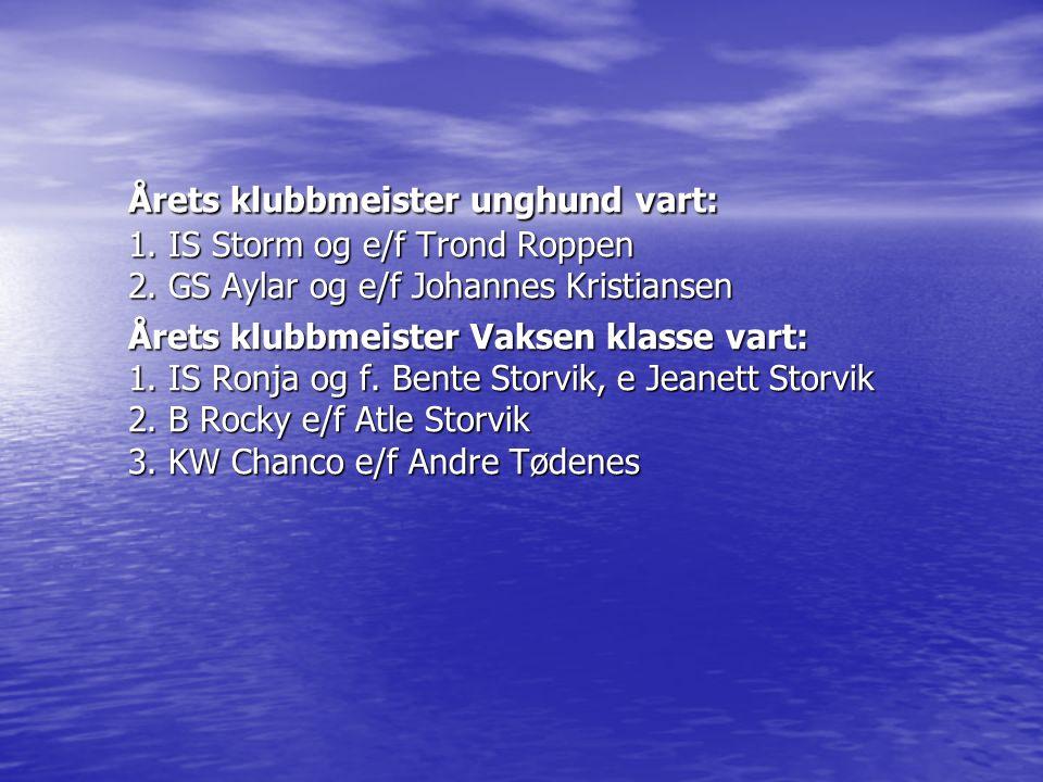 Årets klubbmeister unghund vart: 1. IS Storm og e/f Trond Roppen 2. GS Aylar og e/f Johannes Kristiansen Årets klubbmeister Vaksen klasse vart: 1. IS