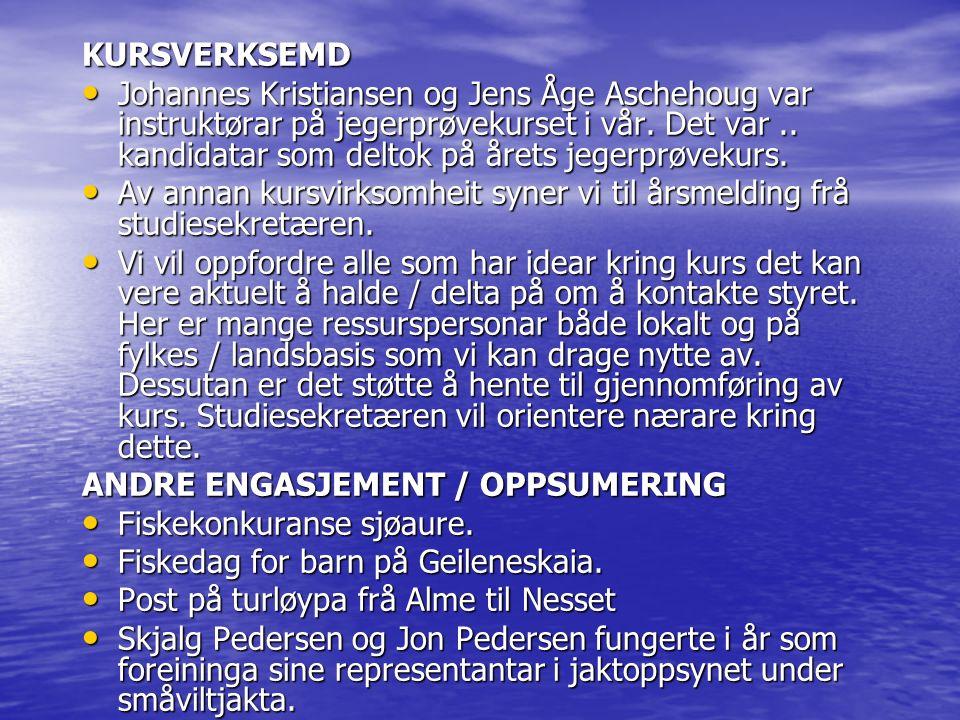 KURSVERKSEMD Johannes Kristiansen og Jens Åge Aschehoug var instruktørar på jegerprøvekurset i vår. Det var.. kandidatar som deltok på årets jegerprøv