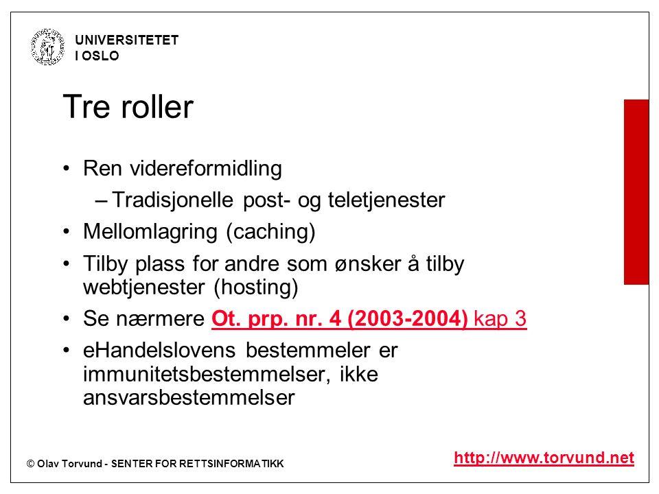 © Olav Torvund - SENTER FOR RETTSINFORMATIKK UNIVERSITETET I OSLO http://www.torvund.net Tre roller Ren videreformidling –Tradisjonelle post- og telet