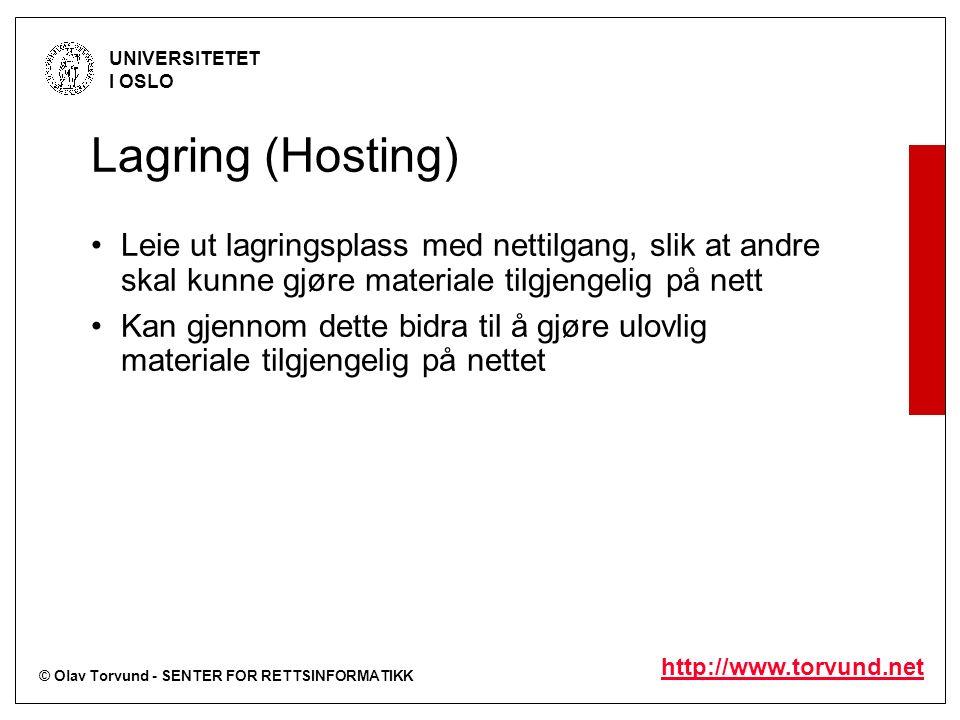 © Olav Torvund - SENTER FOR RETTSINFORMATIKK UNIVERSITETET I OSLO http://www.torvund.net Lagring (Hosting) Leie ut lagringsplass med nettilgang, slik