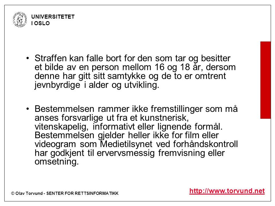 © Olav Torvund - SENTER FOR RETTSINFORMATIKK UNIVERSITETET I OSLO http://www.torvund.net Ansattes ytringsfrihet