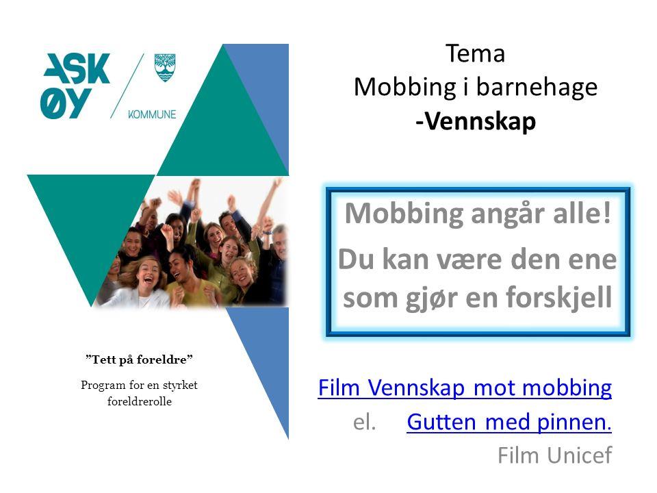 Tema Mobbing i barnehage -Vennskap Mobbing angår alle.