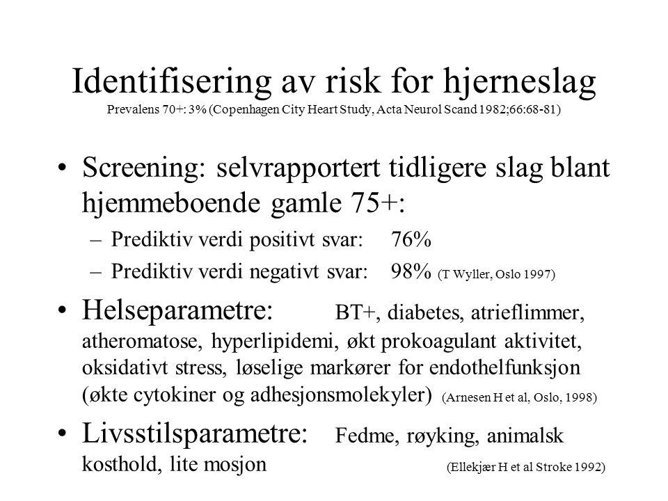 Identifisering av risk for hjerneslag Prevalens 70+: 3% (Copenhagen City Heart Study, Acta Neurol Scand 1982;66:68-81) Screening: selvrapportert tidligere slag blant hjemmeboende gamle 75+: –Prediktiv verdi positivt svar:76% –Prediktiv verdi negativt svar:98% (T Wyller, Oslo 1997) Helseparametre: BT+, diabetes, atrieflimmer, atheromatose, hyperlipidemi, økt prokoagulant aktivitet, oksidativt stress, løselige markører for endothelfunksjon (økte cytokiner og adhesjonsmolekyler) (Arnesen H et al, Oslo, 1998) Livsstilsparametre: Fedme, røyking, animalsk kosthold, lite mosjon (Ellekjær H et al Stroke 1992)