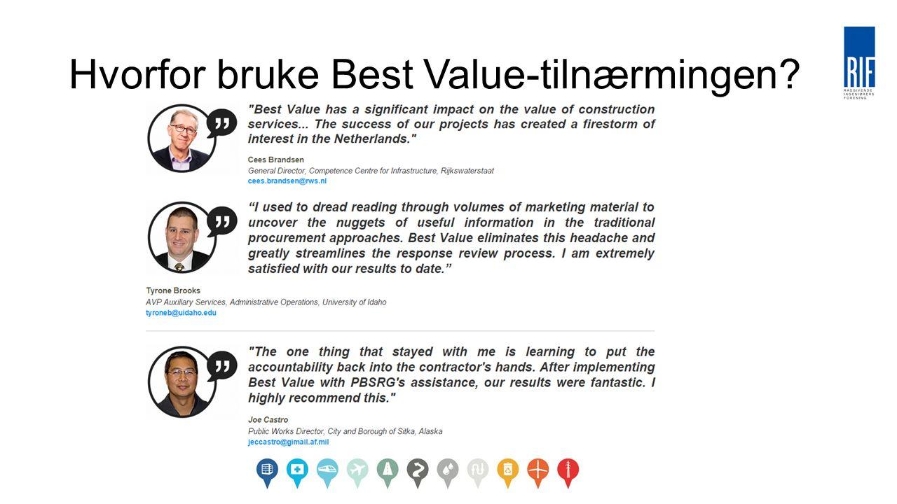 Hvorfor bruke Best Value-tilnærmingen