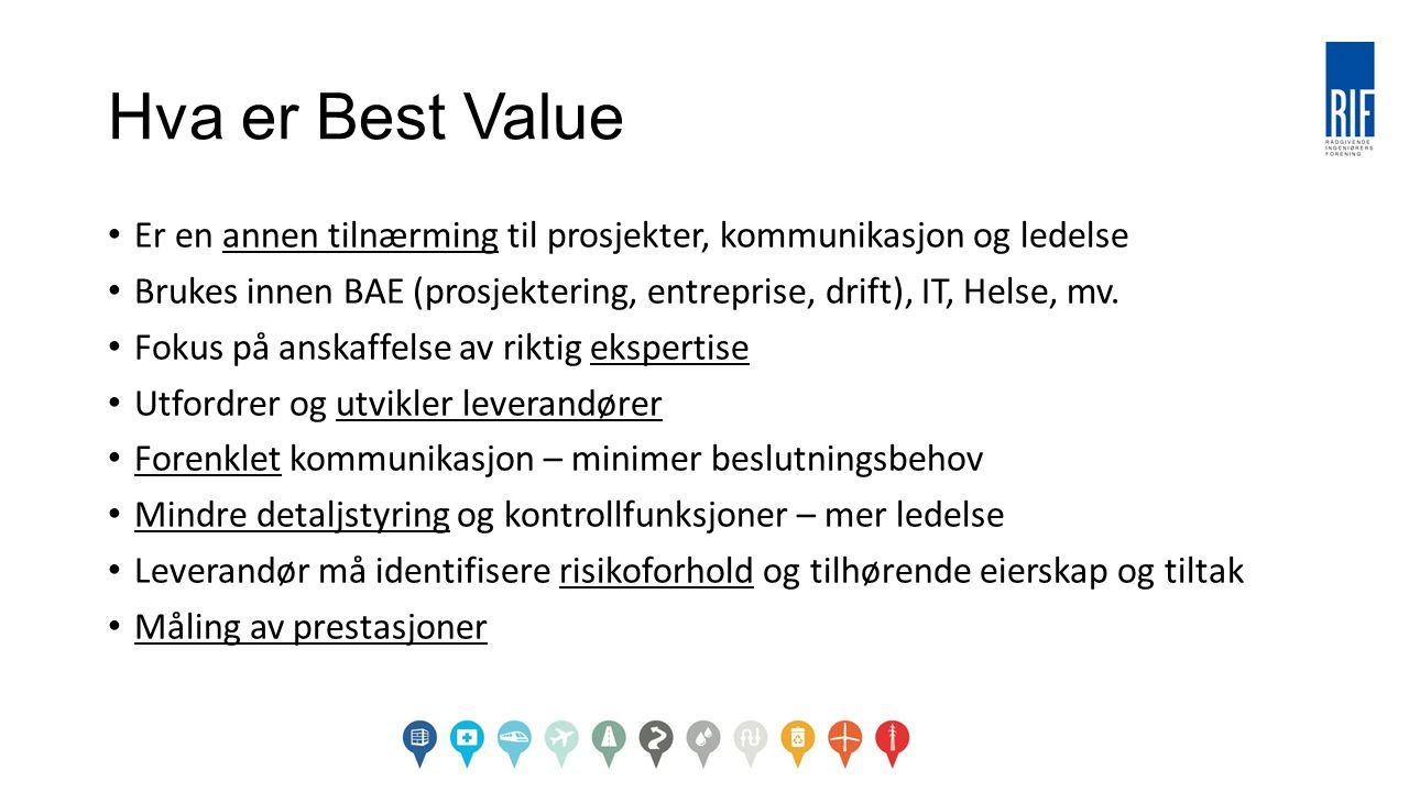 Hva er Best Value Er en annen tilnærming til prosjekter, kommunikasjon og ledelse Brukes innen BAE (prosjektering, entreprise, drift), IT, Helse, mv.