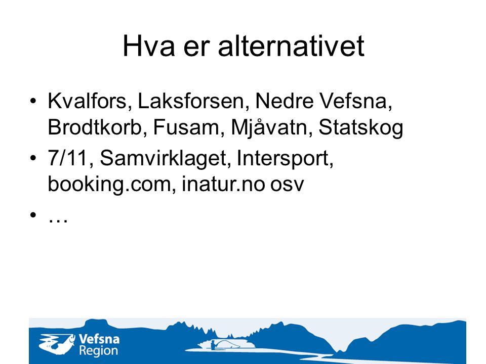 Hva er alternativet Kvalfors, Laksforsen, Nedre Vefsna, Brodtkorb, Fusam, Mjåvatn, Statskog 7/11, Samvirklaget, Intersport, booking.com, inatur.no osv …