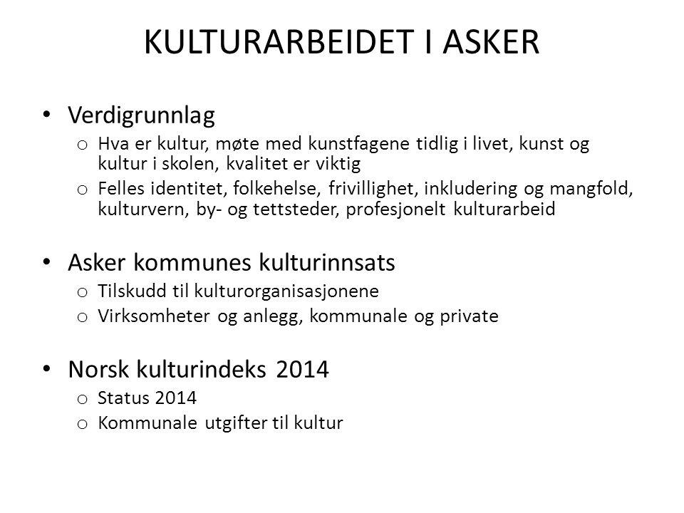 Profesjonelt kunst- og kulturarbeid Profesjonelle kunstnere og kulturarbeidere er en viktig del av den kulturelle kapitalen i Asker som må foredles og tas i bruk.