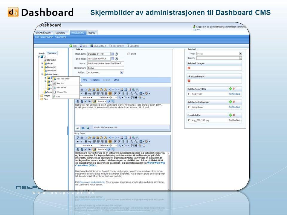 Skjermbilder av administrasjonen til Dashboard CMS