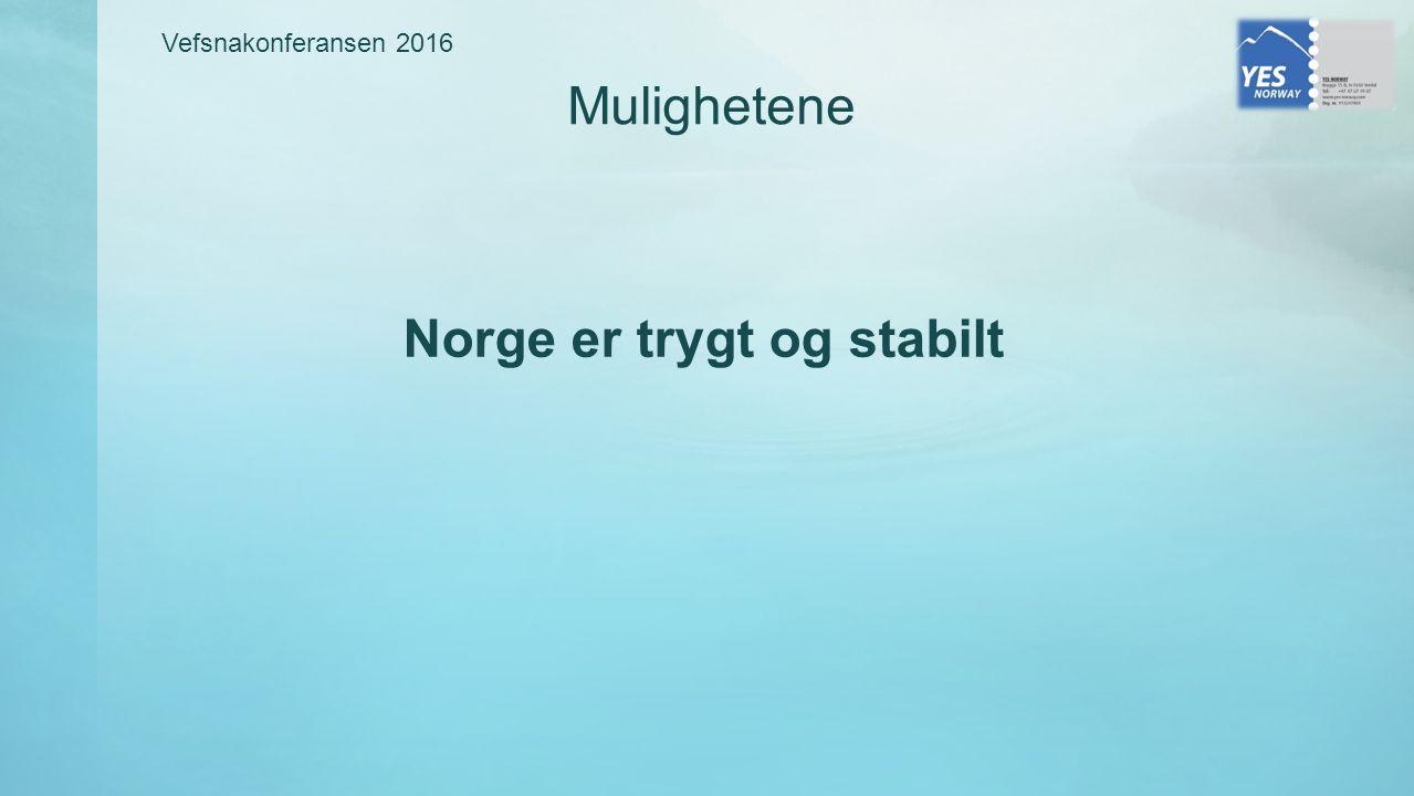 Norge er trygt og stabilt Mulighetene