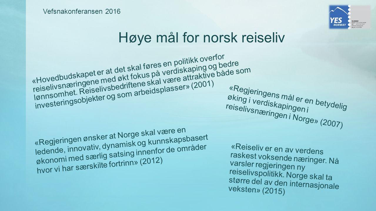 Høye mål for norsk reiseliv «Hovedbudskapet er at det skal føres en politikk overfor reiselivsnæringene med økt fokus på verdiskaping og bedre lønnsomhet.
