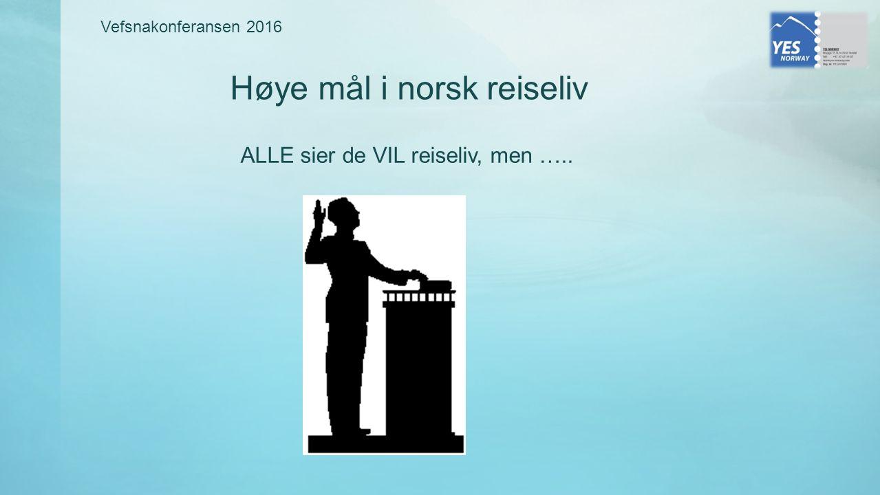 ALLE sier de VIL reiseliv, men ….. Vefsnakonferansen 2016 Høye mål i norsk reiseliv