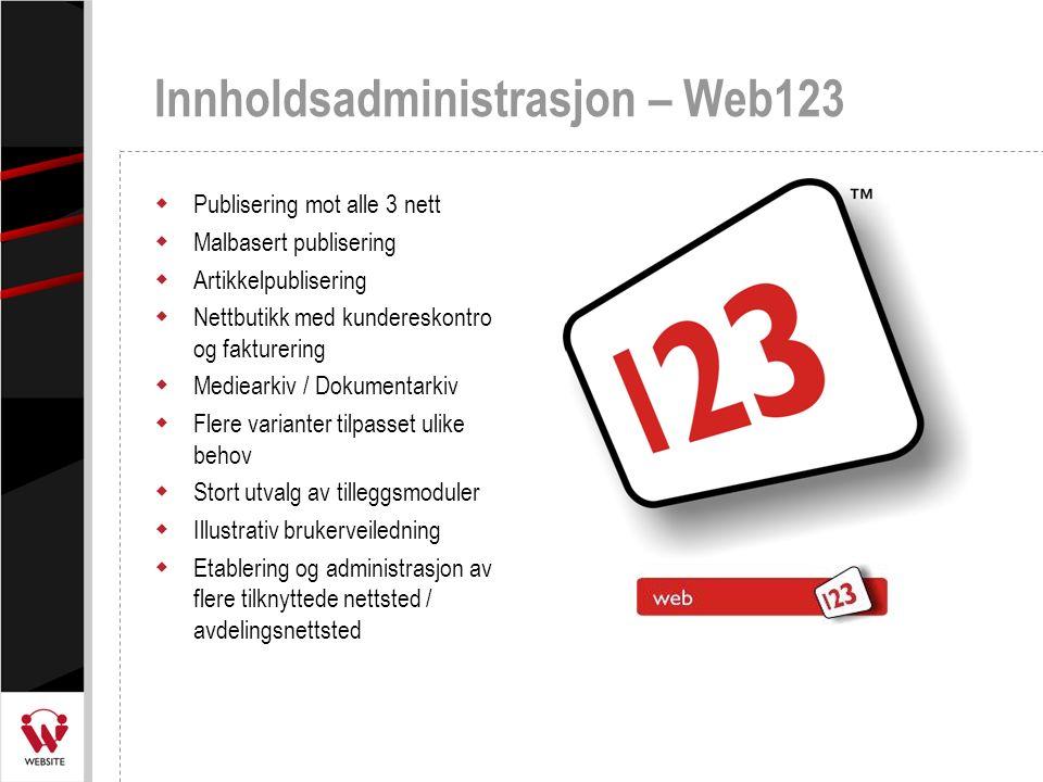 Innholdsadministrasjon – Web123  Publisering mot alle 3 nett  Malbasert publisering  Artikkelpublisering  Nettbutikk med kundereskontro og fakture