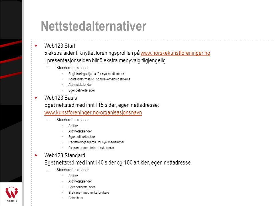 Nettstedalternativer  Web123 Start 5 ekstra sider tilknyttet foreningsprofilen på www.norskekunstforeninger.no I presentasjonssiden blir 5 ekstra men