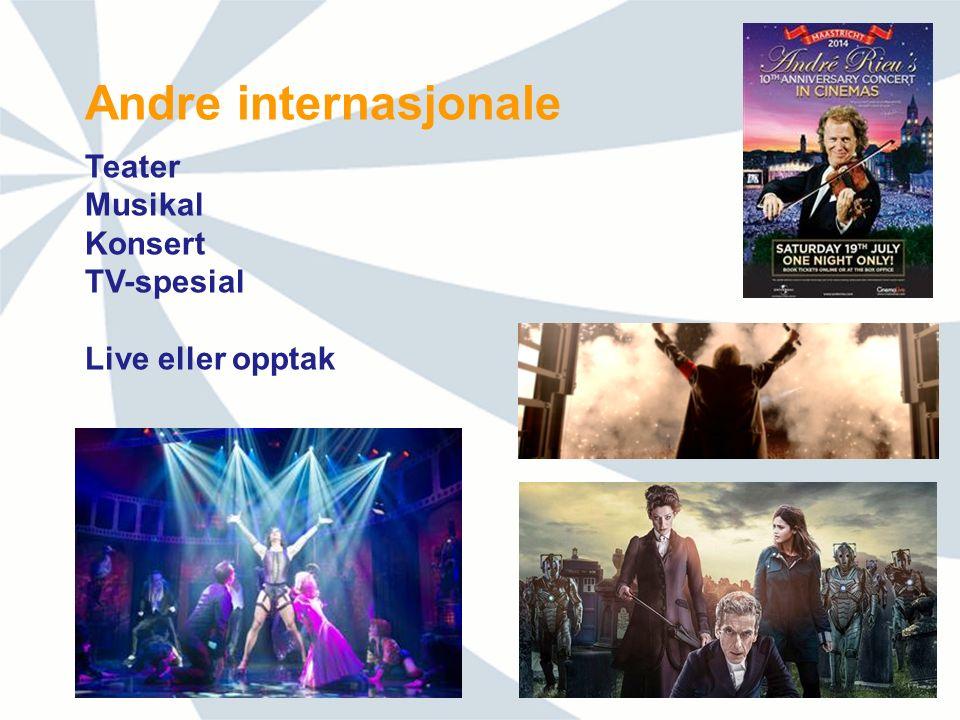 Andre internasjonale Teater Musikal Konsert TV-spesial Live eller opptak
