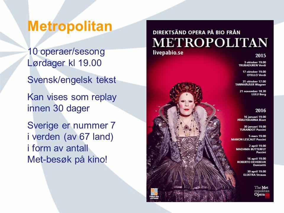 Metropolitan 10 operaer/sesong Lørdager kl 19.00 Svensk/engelsk tekst Kan vises som replay innen 30 dager Sverige er nummer 7 i verden (av 67 land) i form av antall Met-besøk på kino!