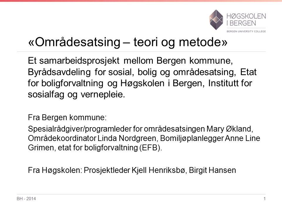 «Områdesatsing – teori og metode» Et samarbeidsprosjekt mellom Bergen kommune, Byrådsavdeling for sosial, bolig og områdesatsing, Etat for boligforvaltning og Høgskolen i Bergen, Institutt for sosialfag og vernepleie.