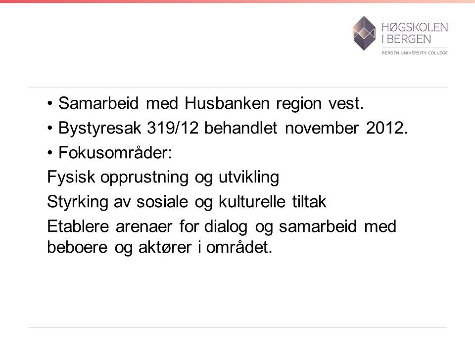 Samarbeid med Husbanken region vest. Bystyresak 319/12 behandlet november 2012.