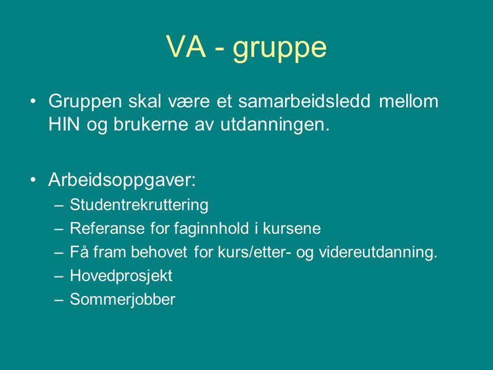 VA - gruppe Gruppen skal være et samarbeidsledd mellom HIN og brukerne av utdanningen.