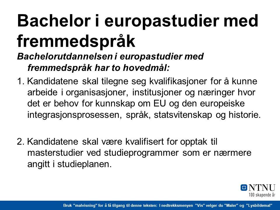 Bruk malvisning for å få tilgang til denne teksten: I nedtrekksmenyen Vis velger du Maler og Lysbildemal Bachelor i europastudier med fremmedspråk - forts.