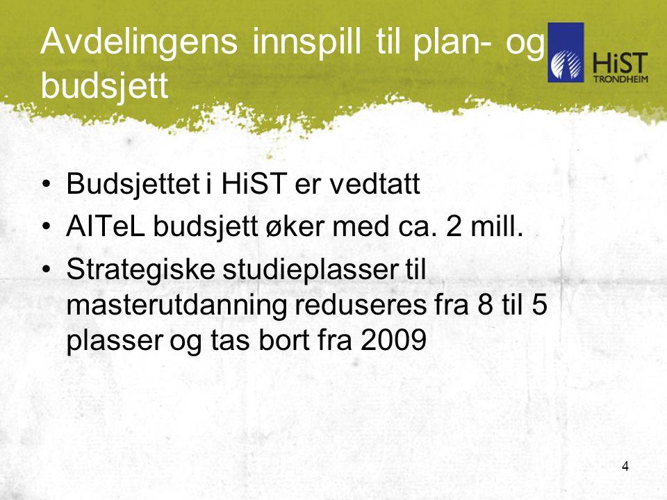 4 Avdelingens innspill til plan- og budsjett Budsjettet i HiST er vedtatt AITeL budsjett øker med ca.