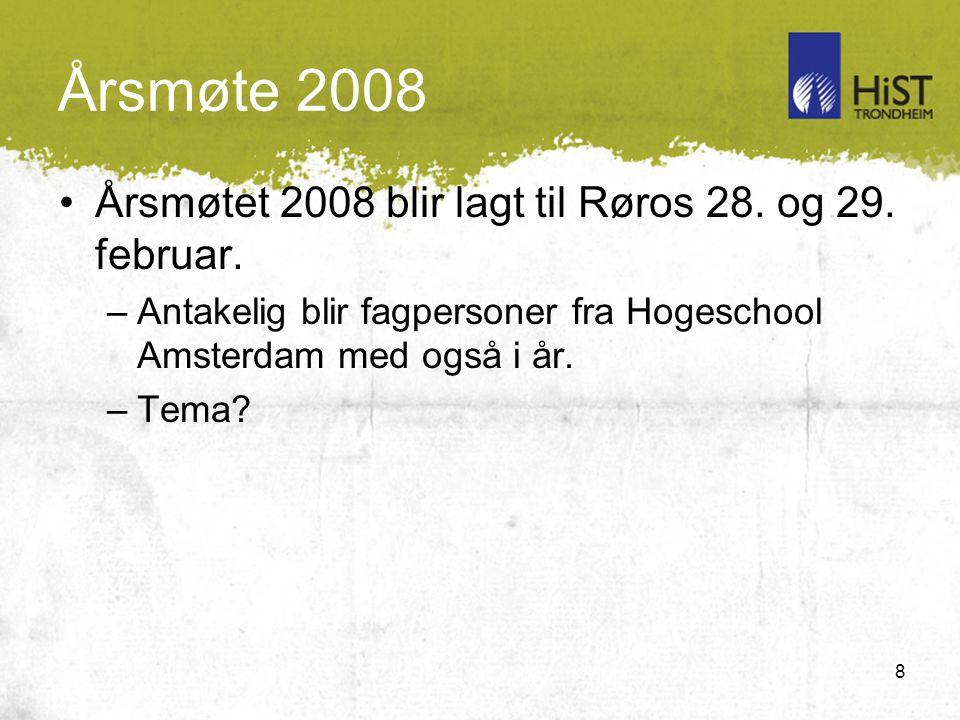 8 Årsmøte 2008 Årsmøtet 2008 blir lagt til Røros 28.