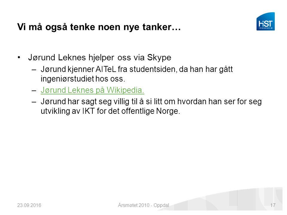 Vi må også tenke noen nye tanker… Jørund Leknes hjelper oss via Skype –Jørund kjenner AITeL fra studentsiden, da han har gått ingeniørstudiet hos oss.