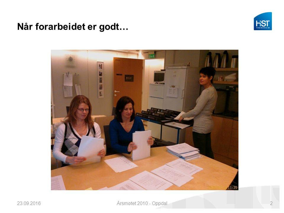 Når forarbeidet er godt… 23.09.2016Årsmøtet 2010 - Oppdal2