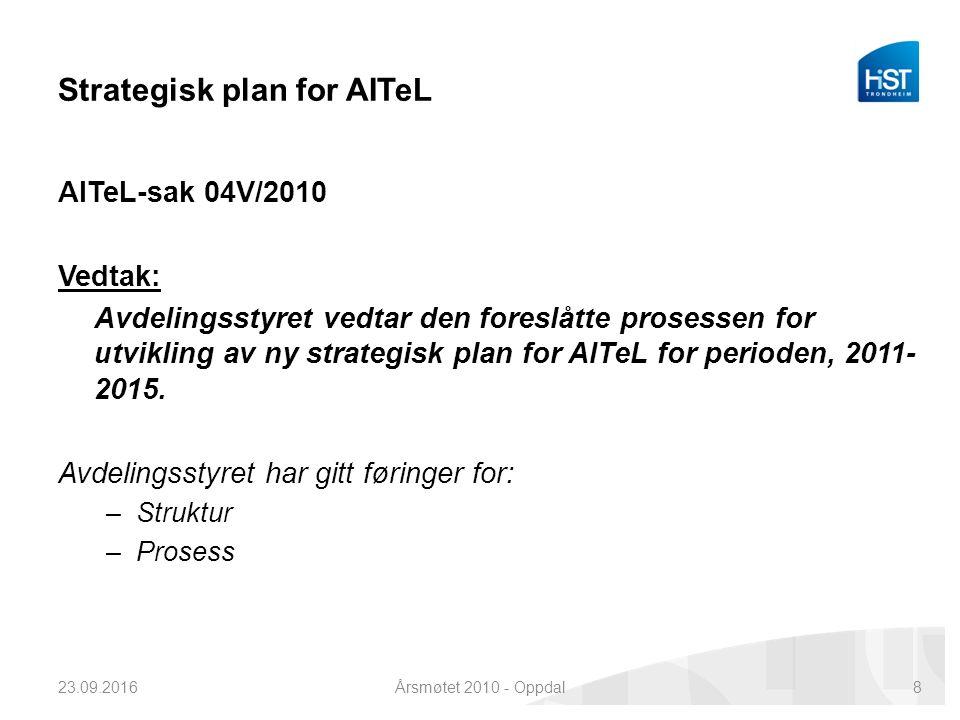 Strategisk plan for AITeL AITeL-sak 04V/2010 Vedtak: Avdelingsstyret vedtar den foreslåtte prosessen for utvikling av ny strategisk plan for AITeL for perioden, 2011- 2015.