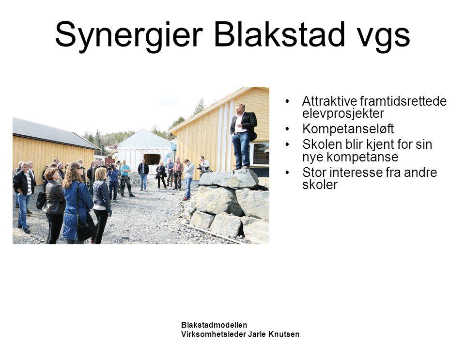 Synergier Blakstad vgs Attraktive framtidsrettede elevprosjekter Kompetanseløft Skolen blir kjent for sin nye kompetanse Stor interesse fra andre skoler Blakstadmodellen Virksomhetsleder Jarle Knutsen