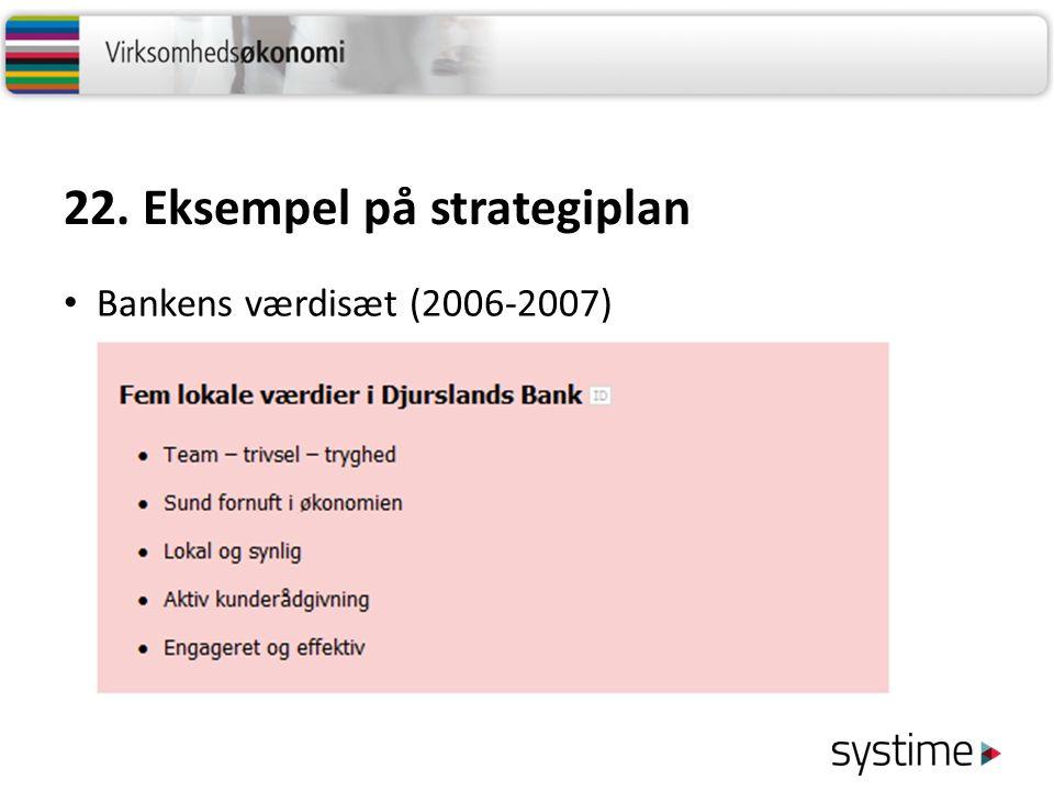 22. Eksempel på strategiplan Bankens værdisæt (2006-2007)