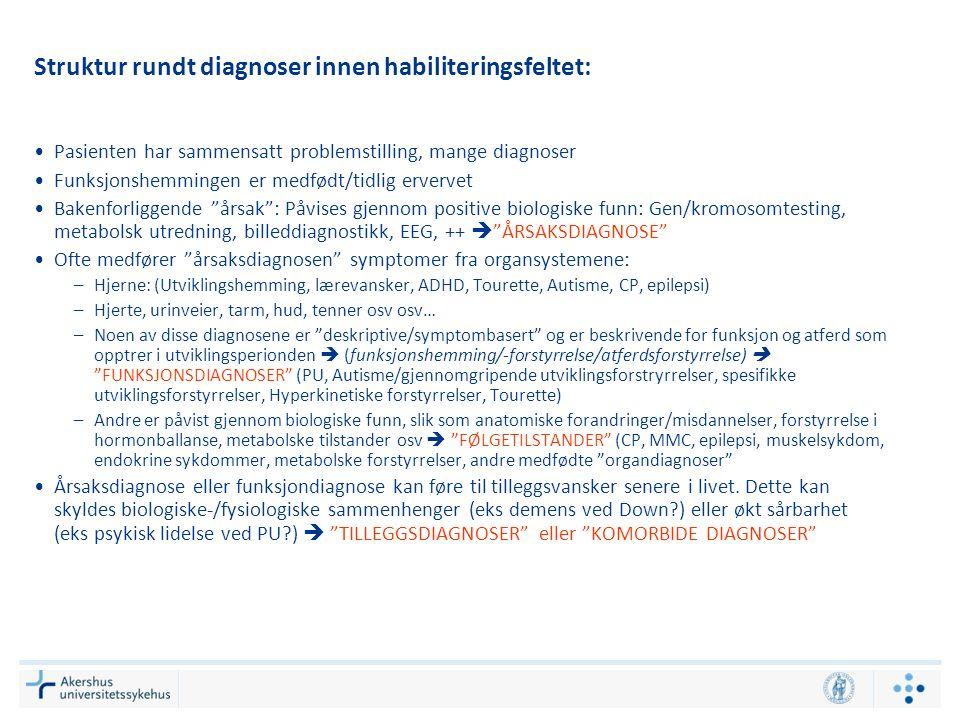 Struktur rundt diagnoser innen habiliteringsfeltet: Pasienten har sammensatt problemstilling, mange diagnoser Funksjonshemmingen er medfødt/tidlig erv