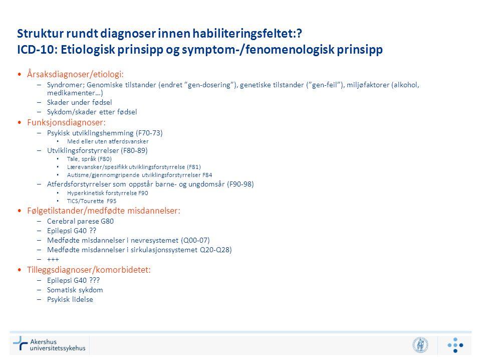 Struktur rundt diagnoser innen habiliteringsfeltet:.