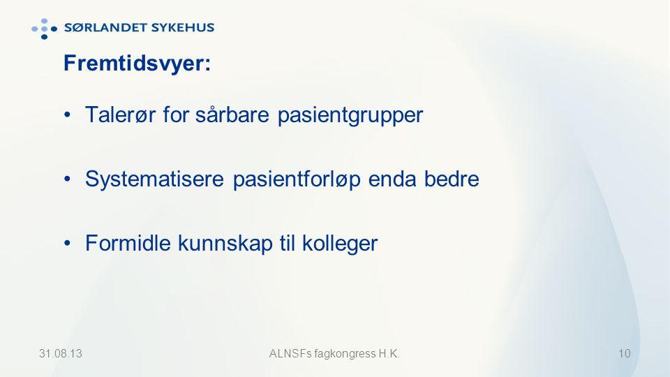 Fremtidsvyer: Talerør for sårbare pasientgrupper Systematisere pasientforløp enda bedre Formidle kunnskap til kolleger 31.08.13ALNSFs fagkongress H.K.10
