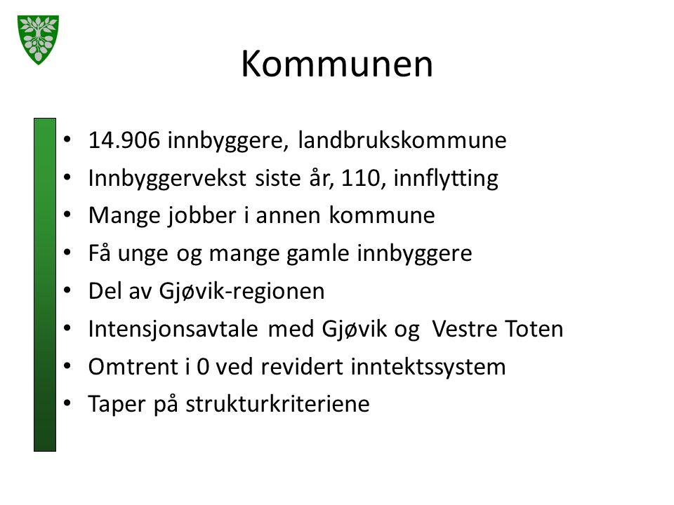 Kommunen 14.906 innbyggere, landbrukskommune Innbyggervekst siste år, 110, innflytting Mange jobber i annen kommune Få unge og mange gamle innbyggere