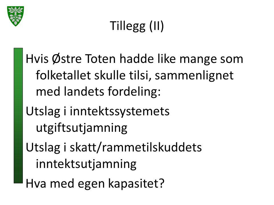 Tillegg (II) Hvis Østre Toten hadde like mange som folketallet skulle tilsi, sammenlignet med landets fordeling: Utslag i inntektssystemets utgiftsutjamning Utslag i skatt/rammetilskuddets inntektsutjamning Hva med egen kapasitet