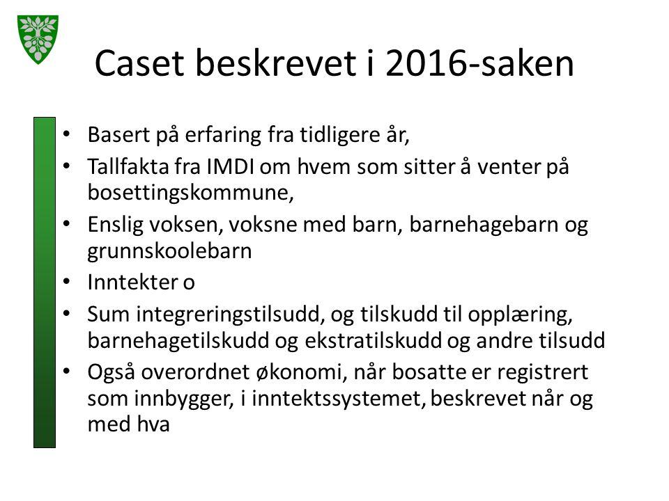 Caset beskrevet i 2016-saken Basert på erfaring fra tidligere år, Tallfakta fra IMDI om hvem som sitter å venter på bosettingskommune, Enslig voksen,