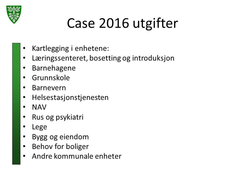 Case 2016 utgifter Kartlegging i enhetene: Læringssenteret, bosetting og introduksjon Barnehagene Grunnskole Barnevern Helsestasjonstjenesten NAV Rus