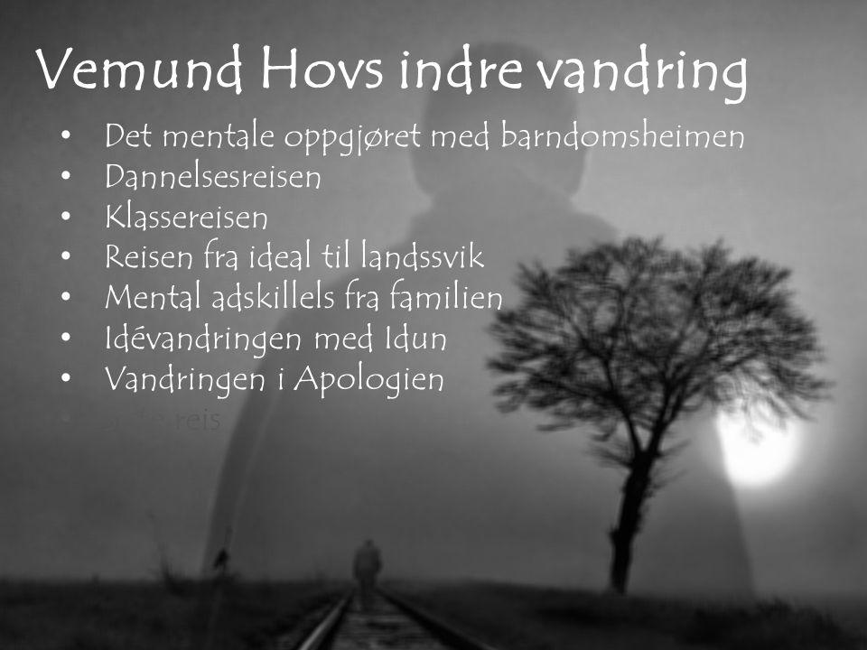 Vemund Hovs indre vandring Det mentale oppgjøret med barndomsheimen Dannelsesreisen Klassereisen Reisen fra ideal til landssvik Mental adskillels fra