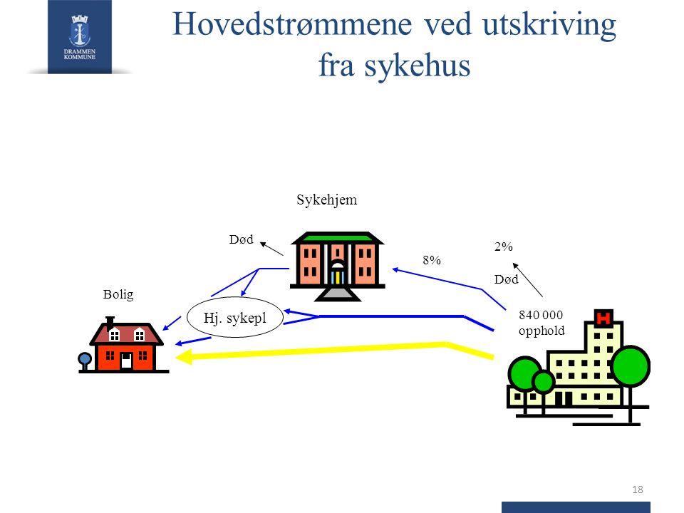 Hovedstrømmene ved utskriving fra sykehus 18 Sykehjem Hj.