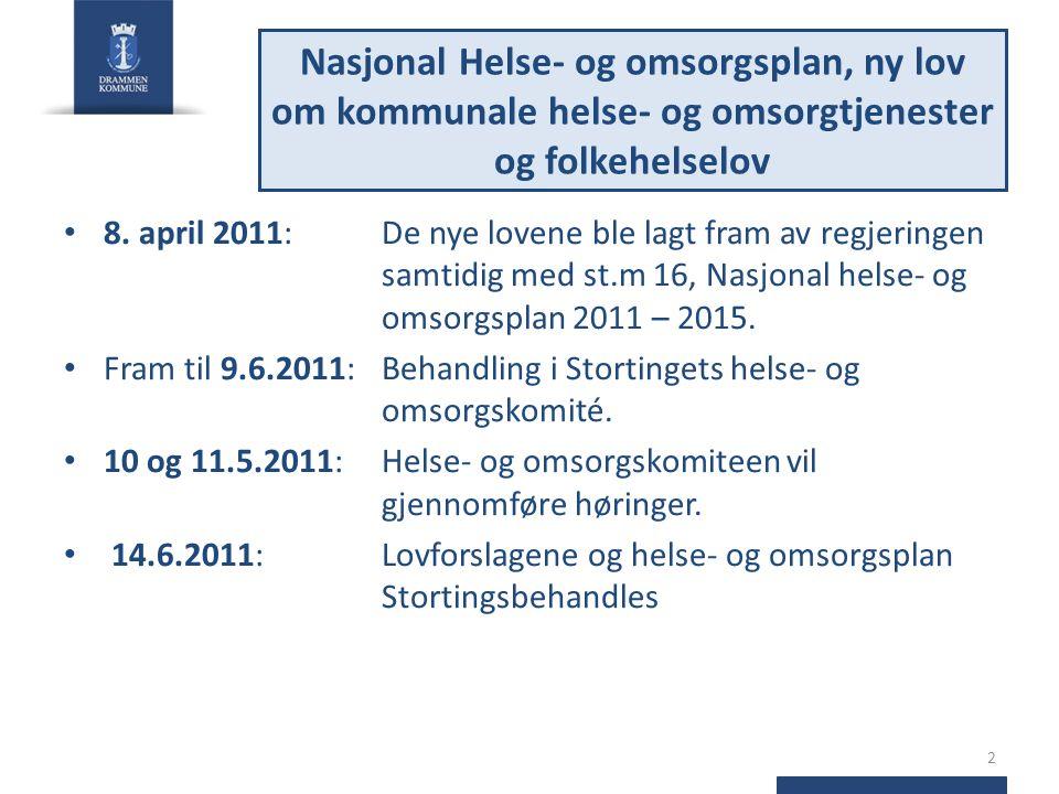 8. april 2011: De nye lovene ble lagt fram av regjeringen samtidig med st.m 16, Nasjonal helse- og omsorgsplan 2011 – 2015. Fram til 9.6.2011: Behandl